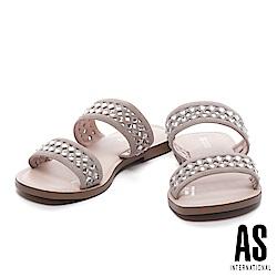 拖鞋 AS 鏤空晶鑽點綴羊麂皮低跟拖鞋-米