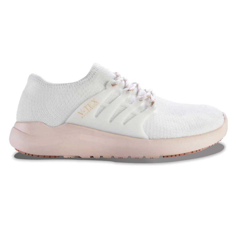 V-TEX 時尚針織耐水鞋/防水鞋 地表最強耐水透濕鞋-嫩粉白(女)