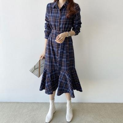 【KISSDIAMOND】復古文藝範格子長款洋裝(簡約/百搭/文青風/KDD-6673)