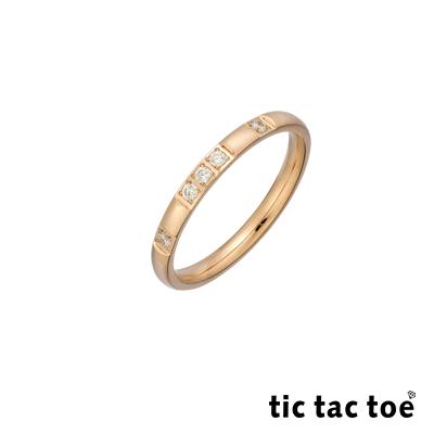 tic tac toe 白鋼戒指 玫瑰金鋯石戒指 TO-X1106C