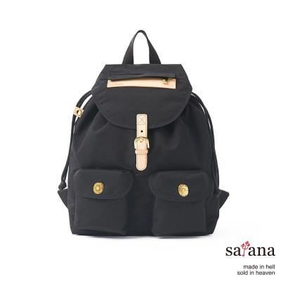 satana - 小休閒束口後背包 - 黑色