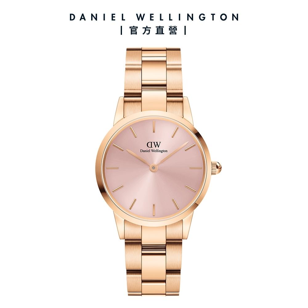 【Daniel Wellington】官方直營 Iconic Link Pink 28mm柔光粉精鋼錶 玫瑰金X粉紅錶盤 DW手錶