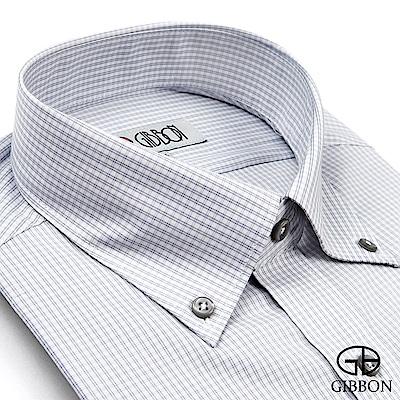 GIBBON 彈性格紋長袖襯衫‧灰色