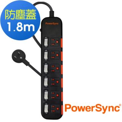 PowerSync 群加 3孔6開6插 滑蓋防塵防雷延長線1.8米TPS366DN0018
