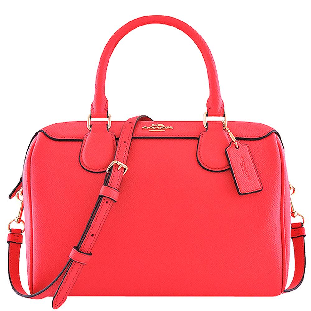 COACH 亮桃紅色防刮皮革手提/斜背兩用包
