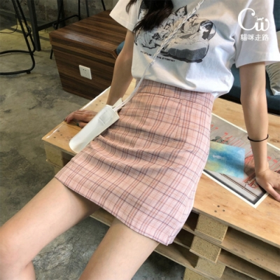 [CW.貓咪走路]經典顯瘦韓系格紋短裙(2色S-L/KDS-9160)