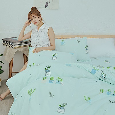 BUHO 柔絲絨單人床包 雙人舖棉兩用被三件組(一隅心綠)
