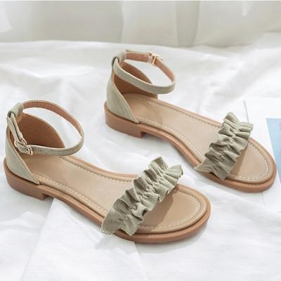 KEITH-WILL時尚鞋館 獨家價甜心花邊美腿涼鞋-綠