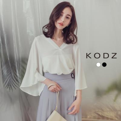 東京著衣-KODZ 浪漫小心機大V領喇叭袖雪紡上衣-S.M.L(共二色)