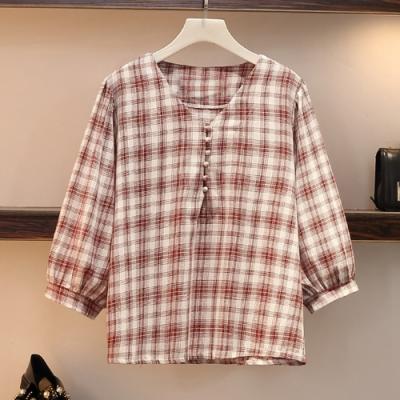 小清新V領格紋燈籠袖上衣XL-4XL(共二色)KVOLL