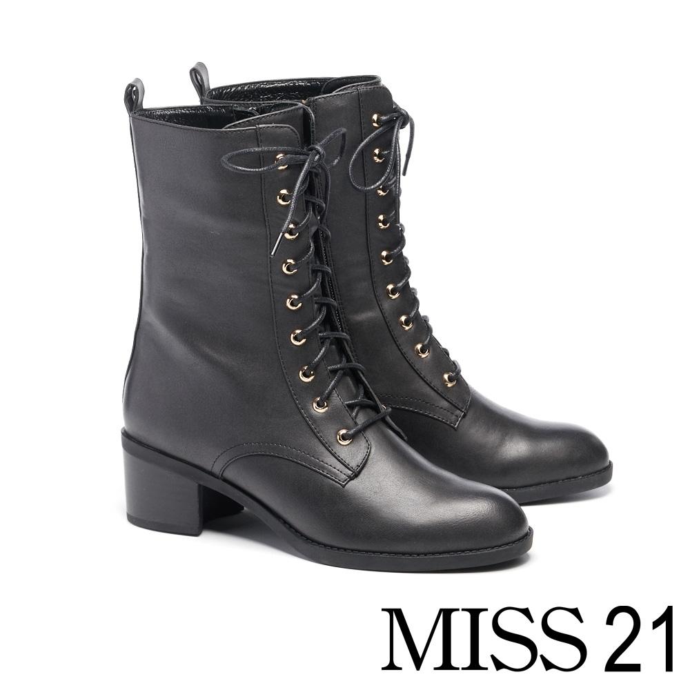 短靴 MISS 21 都會中性美綁帶側拉鍊粗跟短靴-黑