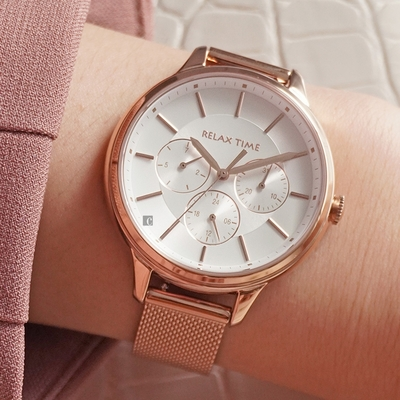 RELAX TIME 經典三眼米蘭帶手錶-白 RT-79-1