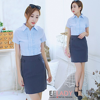 EELADY-OL兩側假腰帶西裝裙