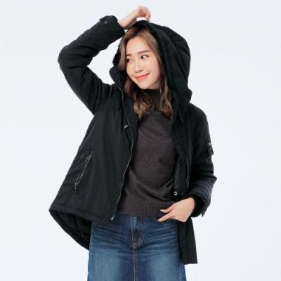BIG TRAIN 簡約短毛裡鋪棉連帽外套-女-黑
