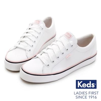 Keds JUMP KICK 粉嫩簡約線條皮革休閒鞋-白