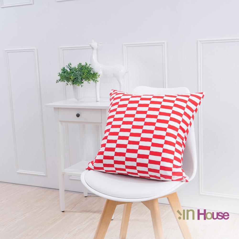 IN HOUSE 簡約系列抱枕-賽車格紅(50x50cm)
