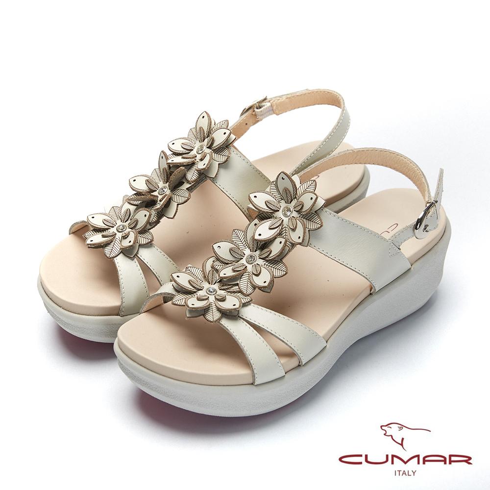 【CUMAR】普羅旺斯莊園-雷射花朵小鑽飾厚底涼鞋-米白