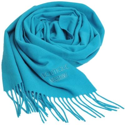BOUTIQUE MOSCHINO義大利製羊毛字母LOGO刺繡寬版羊毛披肩/圍巾(孔雀藍)