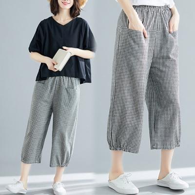 【韓國K.W.】賣瘋了俏皮格紋哈倫褲
