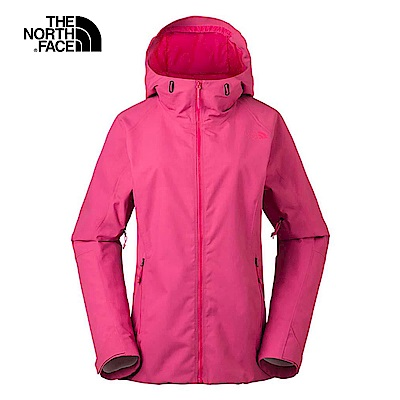 The North Face北面女款粉色防水透氣連帽衝鋒衣|3LA18BK