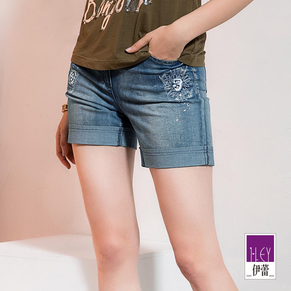 ILEY伊蕾 刺繡燙鑽修身彈力牛仔短褲(藍) @ Y!購物