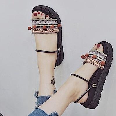 韓國KW美鞋館 韓式名媛蘇格蘭氣質厚底拖鞋-棕色