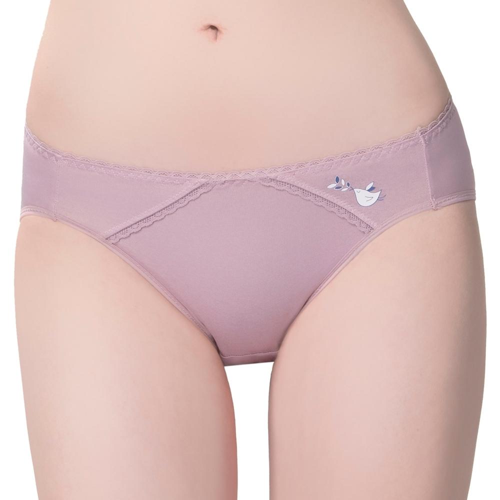 思薇爾 惹萌漾小鳥遊記系列M-XL低腰三角內褲(絹荷紫)