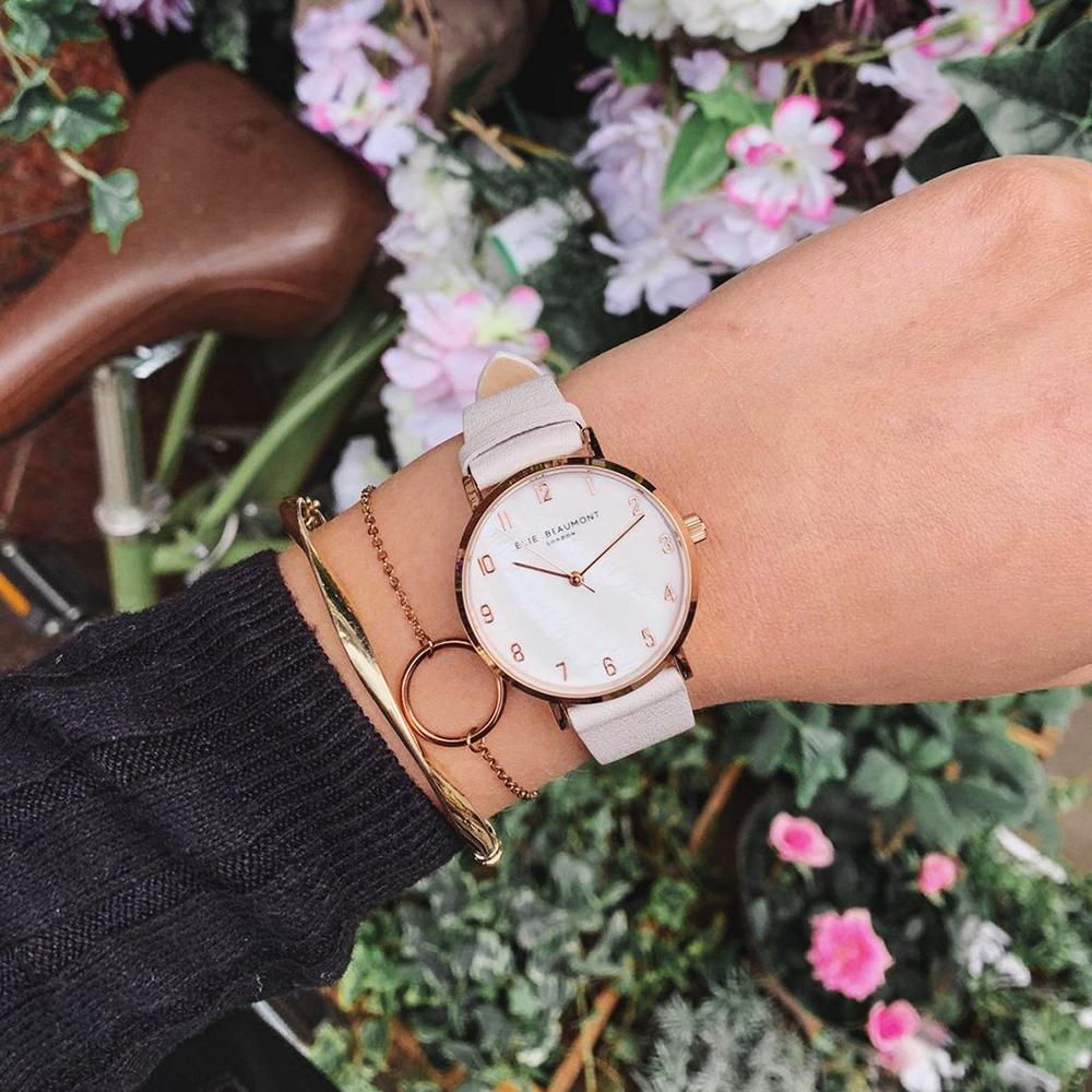 Elie Beaumont英國時尚手錶FITZROVIA珍珠母貝系列 褐色X玫瑰金33mm