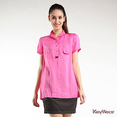KeyWear奇威名品    100%麻拼接雪紡A-Line修身短袖上衣-粉紅色