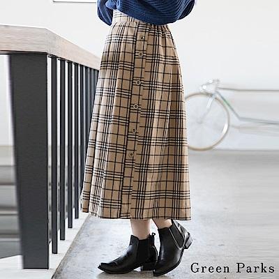 Green Parks 側面鈕扣格紋打褶長裙