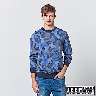 JEEP 豹紋迷彩長袖針織衫-海洋藍