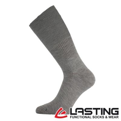 【LASTING捷克】男款美麗諾羊毛抗菌除臭吸濕排汗中筒健行襪LT-WRM灰