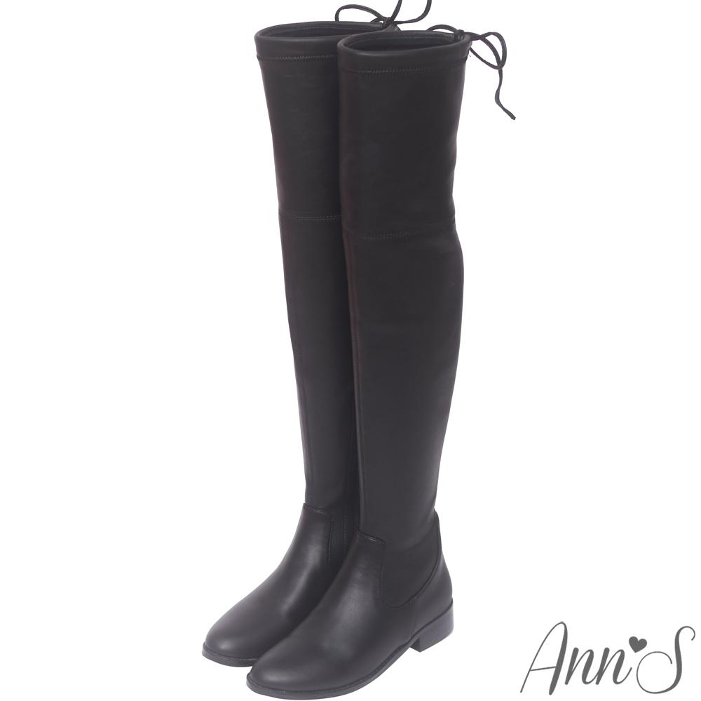 Ann'S鳥仔腳專屬-獨創防滑膠條超窄版過膝靴-羊紋黑