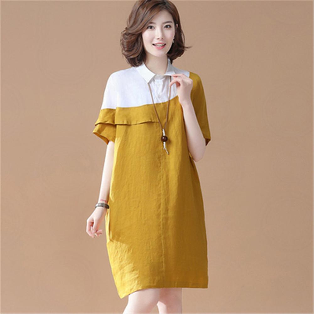 初色  簡約假兩件荷葉邊連身裙-共2色-(M-2XL可選)