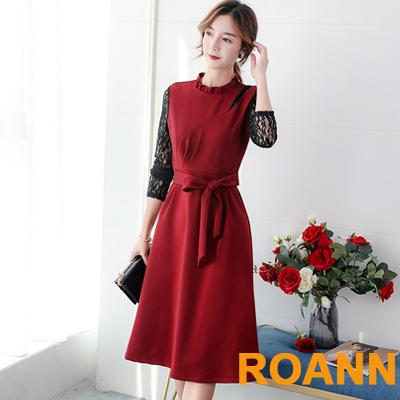 花邊圓領拼接縷空蕾絲中長款洋裝 (共二色)-ROANN