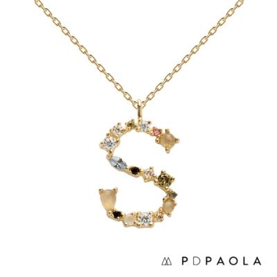 PD PAOLA 西班牙輕奢時尚品牌 字母S 彩鑽寶石項鍊