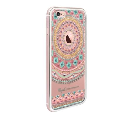 apbs iPhone6s / 6 4.7吋施華彩鑽鋁合金屬框手機殼-玫瑰金蘋果圖騰