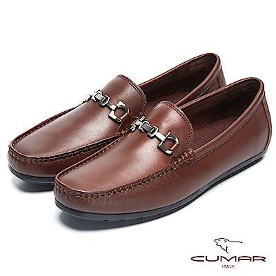 CUMAR雅痞時尚 百搭時髦牛皮帆船鞋-咖