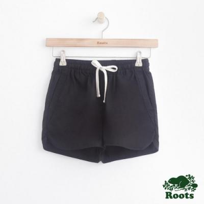 女裝Roots 抽繩平織短褲-黑