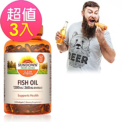 Sundown日落恩賜 精萃深海魚油1200mgx3瓶(100粒/瓶)