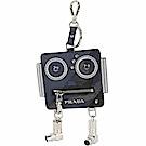 Prada Saffiano 機器人防刮牛皮零錢袋鑰匙圈(海藍色)