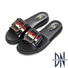 DN 時尚潮感 織帶方飾釦造型大底舒適拖鞋-黑