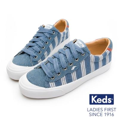 Keds CREW KICK 條紋牛仔綁帶休閒鞋-靛藍