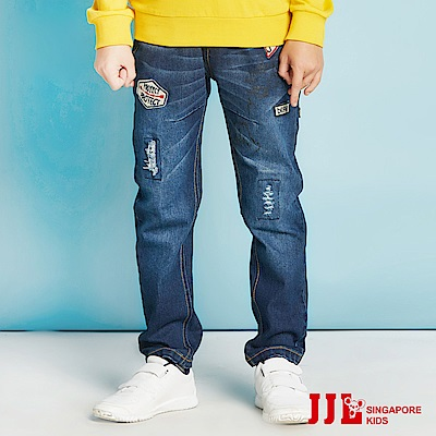 JJLKIDS 街頭潑漆刷破牛仔褲(牛仔藍)