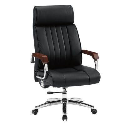 【文創集】達斯 黑高背皮革椅墊辦公椅-60x54x104-117cm免組