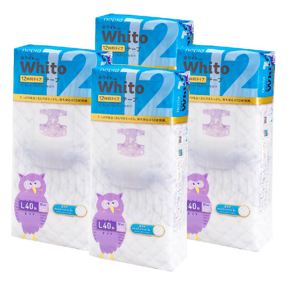 Nepia Whito王子白色系列黏貼紙尿褲 日本境內十二小時版 L 40片x4包/箱