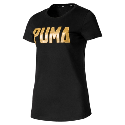 PUMA-女性基本系列Athletics 短袖T恤-黑色-亞規