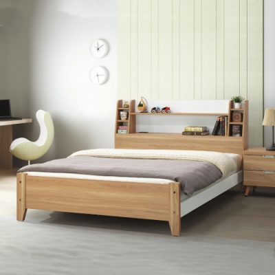 MUNA 艾尼5尺原木色雙人床(共兩色) 160X211X101.5cm