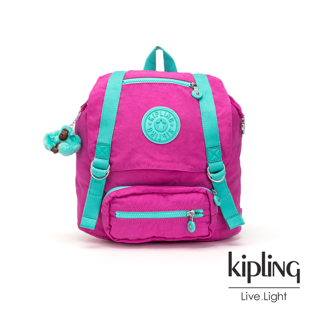 Kipling 糖果色調螢光粉x薄荷綠撞色雙扣翻蓋束口後背包-JOETSU S