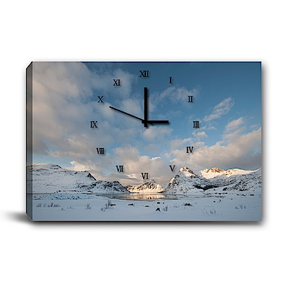 24mama掛畫-單聯式橫幅 掛鐘無框畫-雪地與藍天-60x40cm